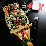 bateau de sushis fait sur le moment