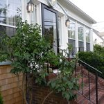 Front entrance surrounded by beautiful plantings