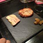 Entrée : foie gras, chutney de poires.