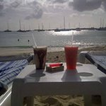 Sunset drinks from Buccaneer Beach Bar on the beach at Atrium