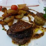 Grilled steak with foi gras, and excellent potatoes