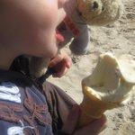 Enjoying an ice-cream on St Ives beach