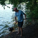 Huey with my husband at the lake.