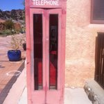 Vintage phone booth in front of the resort.