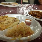 Two pupusas and fried plantains