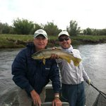 Marc and Bruce with a brown trout