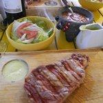 The steak is so juicy
