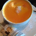 Carrot Ginger soup w/ poached shrimp.