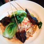 Grilled Filet Kabos w/ baby boc choy, stir fried rice.