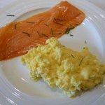 Scrambled egg and smoked salmon breakfast