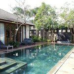swimming pool and door to the kitchen