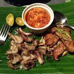 Seafood basket - calamari, lobster and fish