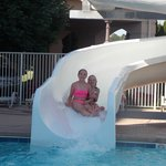 Our girls having fun on the waterslide