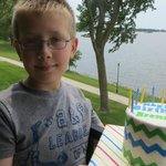 A great place to have some birthday cake, on our balcony overlooking beautiful Storm Lake