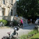 Setting the bikes in front of the hotel