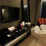TV, mirror and the dvd player