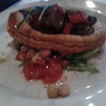 Ratatouille puff pastry tart with wilted spinach and chickpea salad