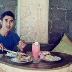 Wayan enjoying wide choice of breakfast in Gazebo