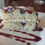 Lemon cake, mascapone icing, berry drizzle