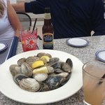 delish local steamers with drawn butter and herbed white wine broth.