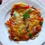 One of the breakfast options - an omlet