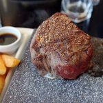Fabulous steak served on a hot stone