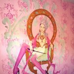 painting on the wall in our pink room!