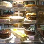 The cabinet of at least 9 deserts/cakes to die for!