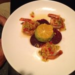 Shrimp with avocado and orange and beets