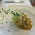 Asparagus Flan with seafood