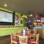 Big screen TV and bar of Bertrand location