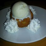 Warm Butter cake with Ice Cream and whip cream
