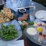 Calamari, seared tuna, edaname & chilled crab legs