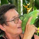 Sally Ramirez and her parrot