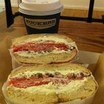 the traditional sandwich - Eastern Nova Scotia salmon, homemade cream cheese, lucky tomatoes, cu