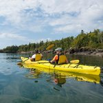 Kayaking the Lake Superior coast at Pigeon Bay