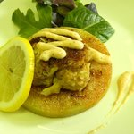 Fried Green Tomato with Crab cake