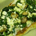 Spinach, feta and mushroom flatbread
