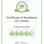 2013 Certificate of Excellence Award = Top 10 % of ALL Businesses on Trip Advisor