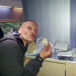 Westy enjoying his curry on the train!