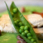 char with fresh peas and bacon