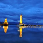 Blue hour photo of the Lindau Lighthouse