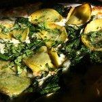 Killer potato, spinach, cheese pizza