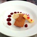 Raspberry Financier Sponge with Mango & Passion Fruit Cream