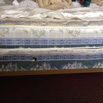 Box spring damaged and with heavy stains