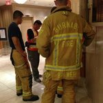 Hotel Lobby frustrated fire fighters from multiple calls