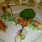 Half baby lobster with greek salad