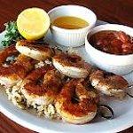 Shrimp Brochette with Honey-glazed Baked Beans
