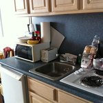 There is a 2 burner stove top and dorm sized refrigerator