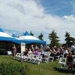 Picture is taken from right side of alter, Barn Loft is behind and to the left of the tents.
